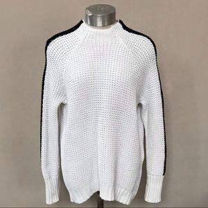 VICTORIA'S SECRET White Sweater with Sleeve Stripe